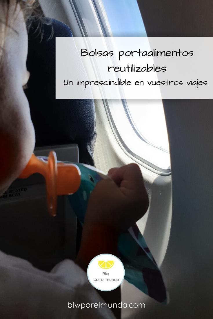 Bolsas de alimentos reutilizables. Mochi comiendo yogurt en el avión.